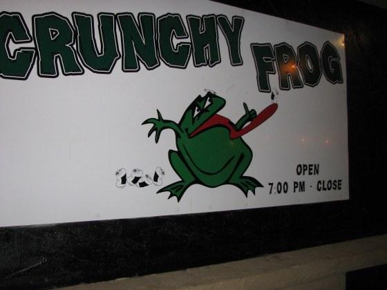 Crunchy Frog sign